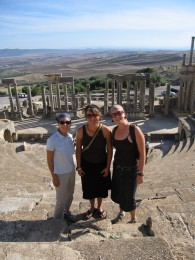 Students at Dougga amphitheater UNESCO world heritage site