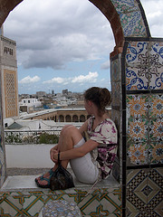 Student on Medina rooftop in Tunis